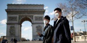 Coronavirus, masque, Arc de Triomphe, Paris, France
